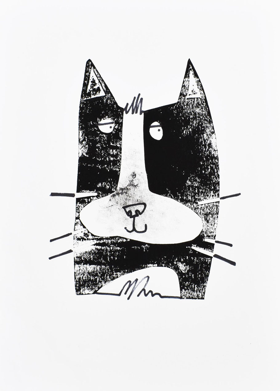 Street Cat affordable art print cat lover artwork gift pussy cat black and white tom cat stray feral wild cat