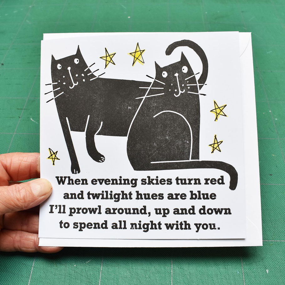 black cat lover valentine greeting card i love you funny humourous handprinted alternative night star