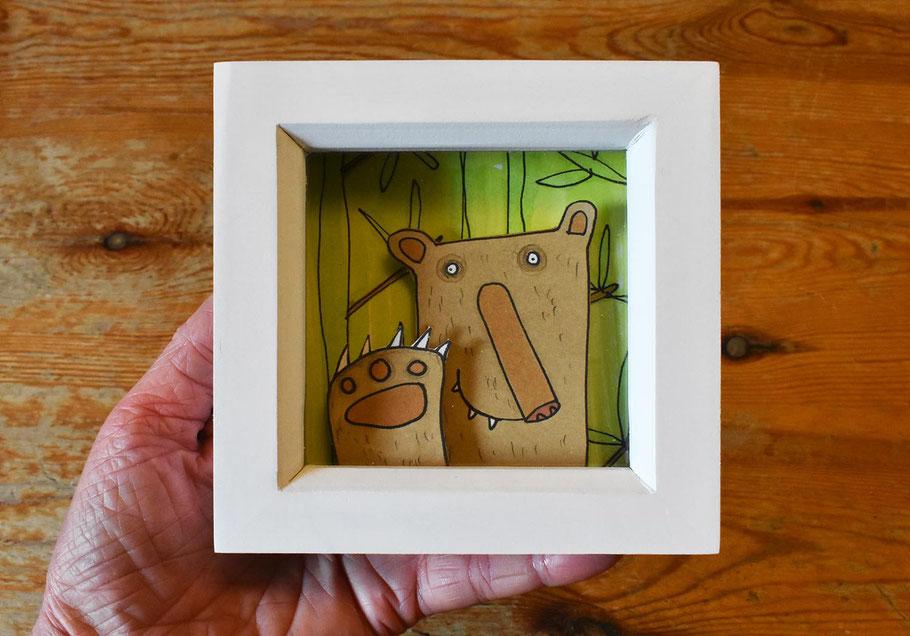 bear in a box frame 3D handmade wall art