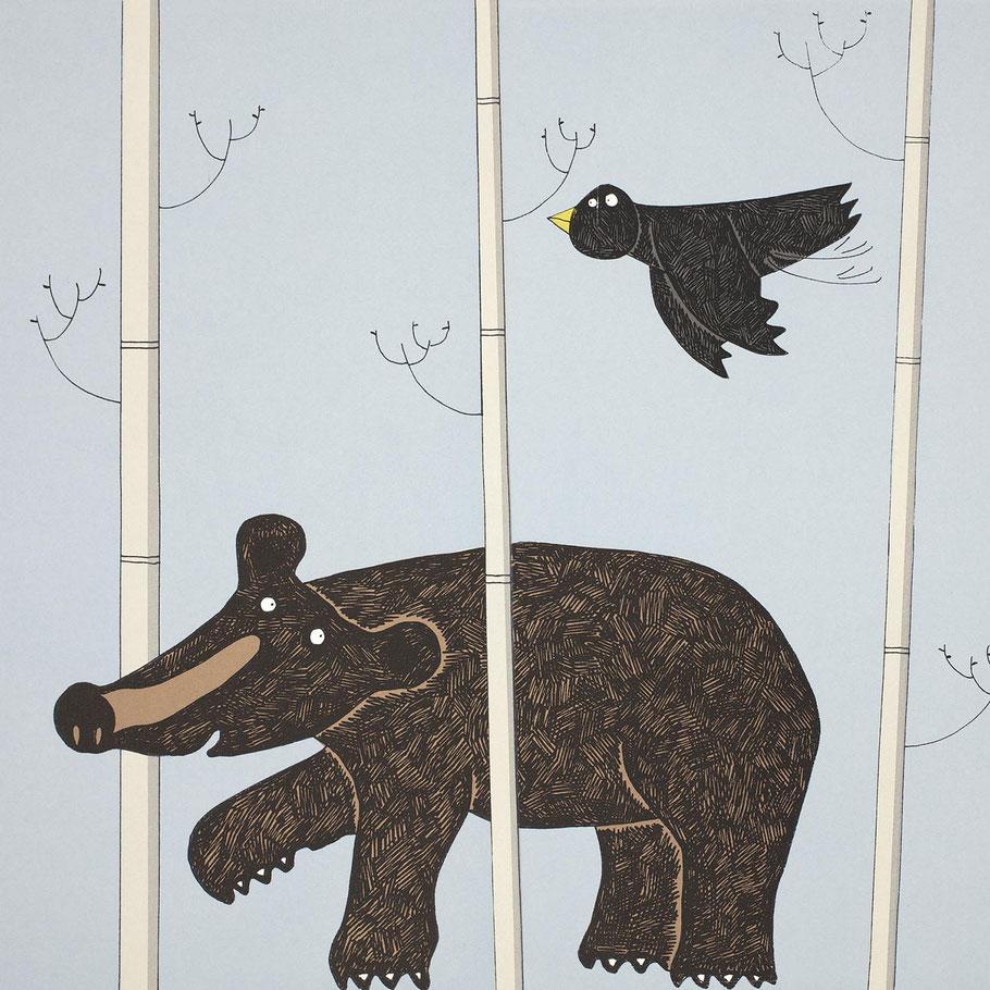 walking black bear kids room wall art screenprint print