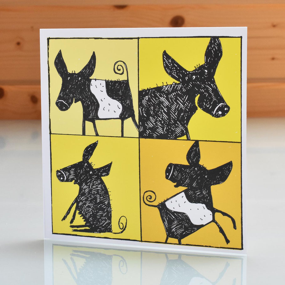 black british saddleback pig greeting card yellow cheerful farm animal wessex essex 2D card