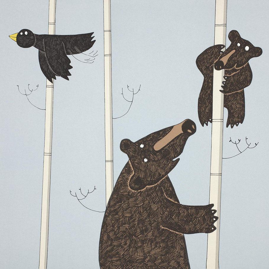mother and baby black bear christening gift nursery wall art print