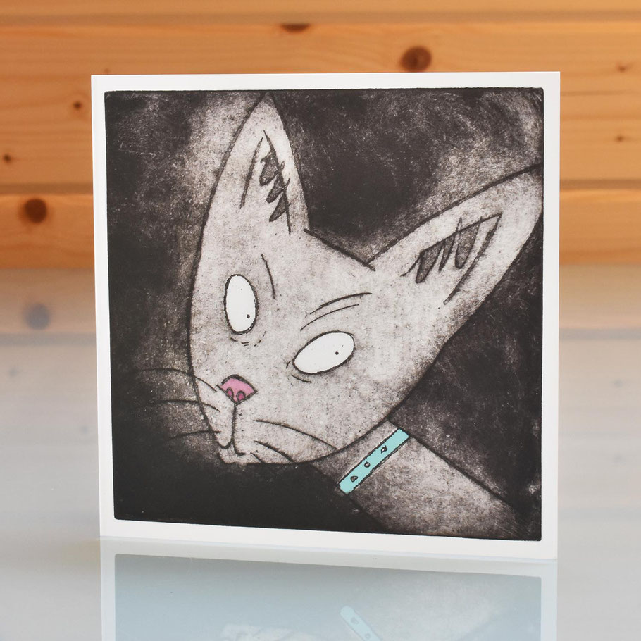 Siamese cat blank inside greeting card fun humourous etching art print card