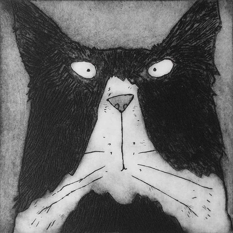 tom cat art etching black and white grumpy stern cat
