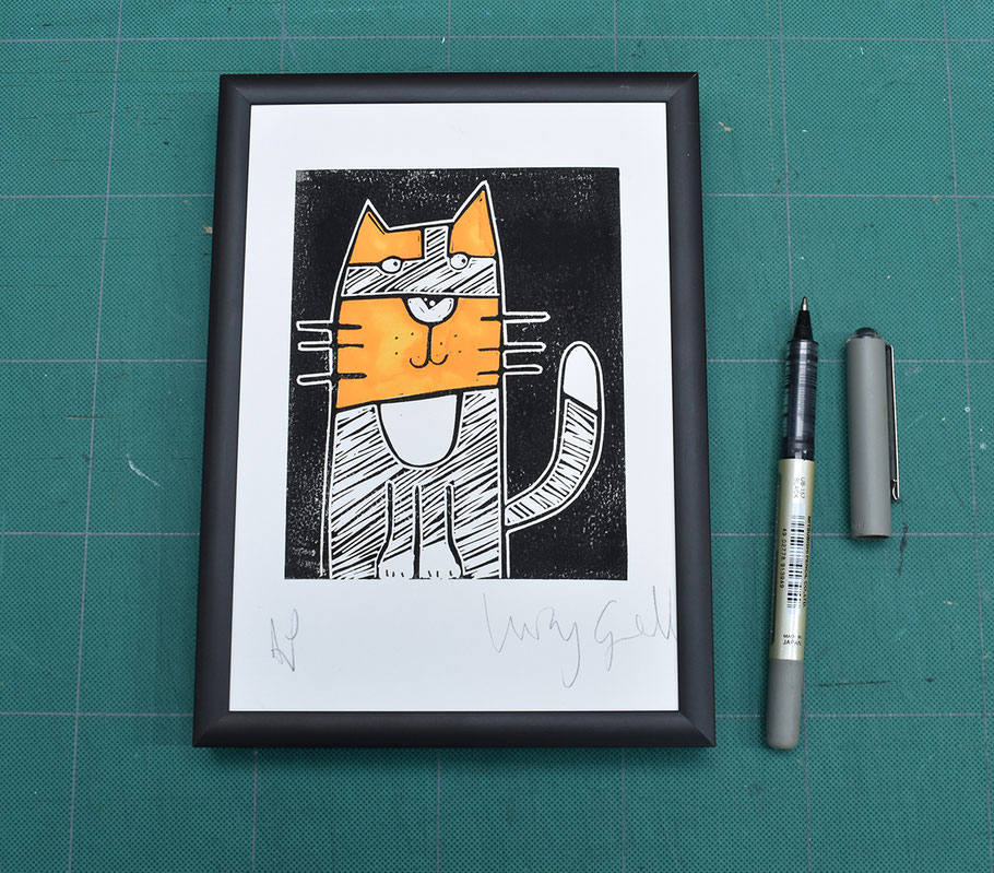 little tortie tallulah tortoiseshell cat linocut art print kitty cat lover orange black and white