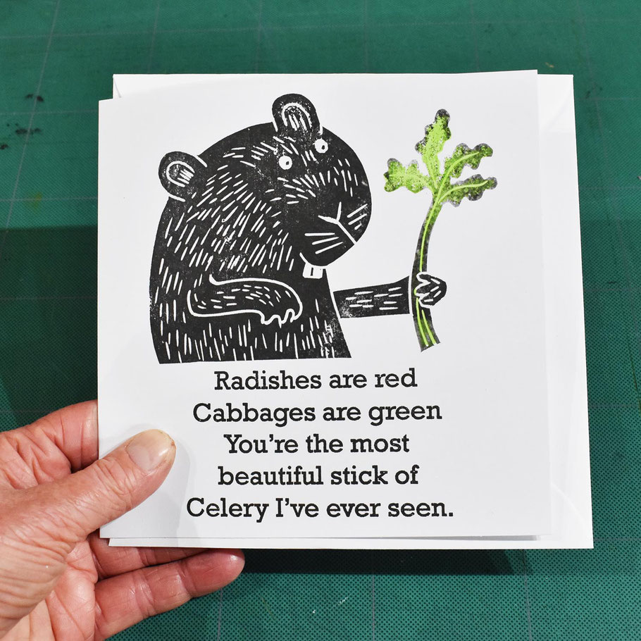 valentine greeting card i love you funny  humourous handprinted alternative guineau pig radishes are red