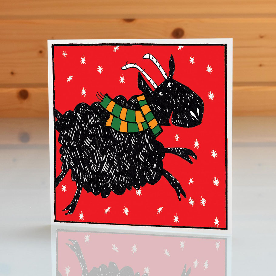 christmas greeting card fun humourous happy black sheep blank inside