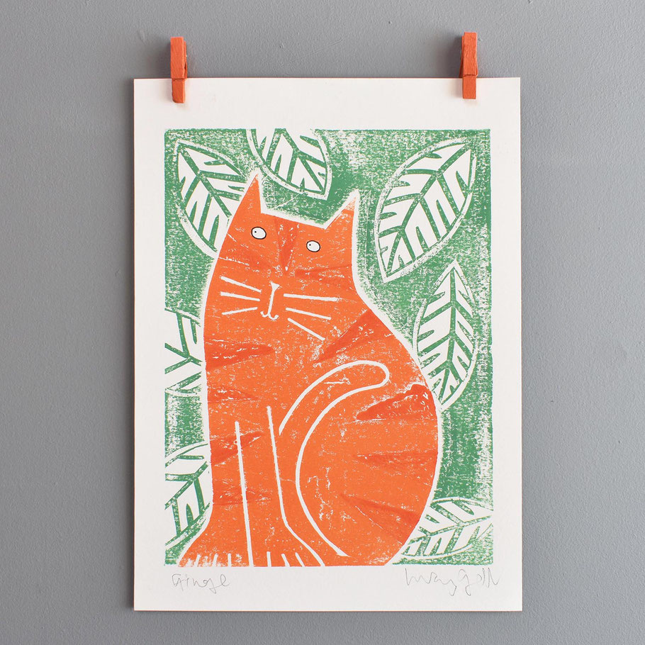 Ginge ginger cat lover monoprint orange cat art print wall decor