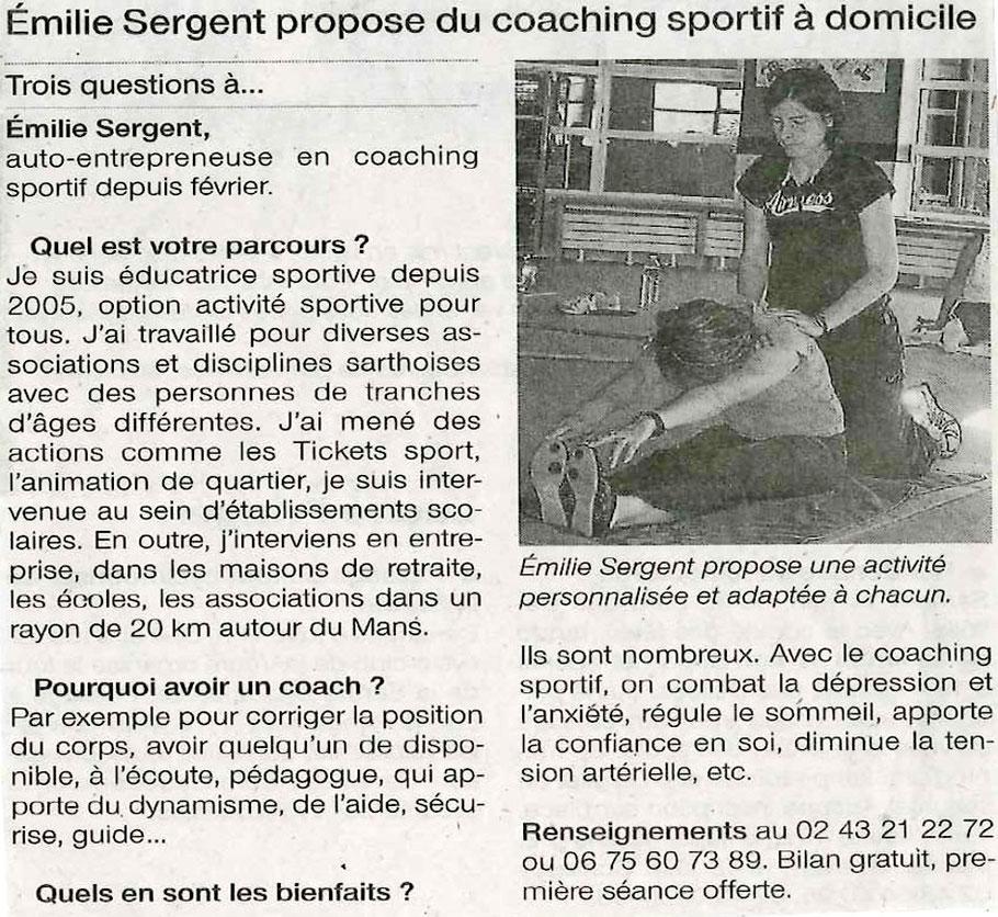 article de presse Emilie Sergent