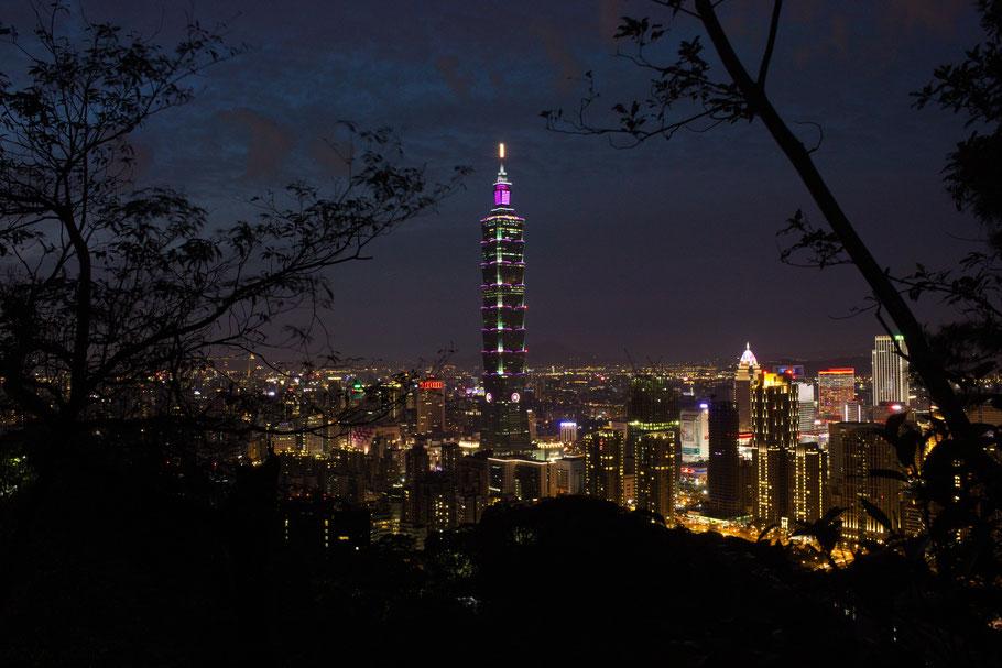 Vue sur la Taipei 101 depuis Xiangshan, Taipei.