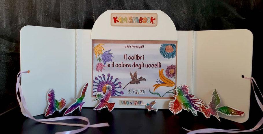 Kamishibai con il libro il colibrì e il colore fiaba perù  libro racconti valigia vendita teatrino burattino  teatro delle ombre cos'è