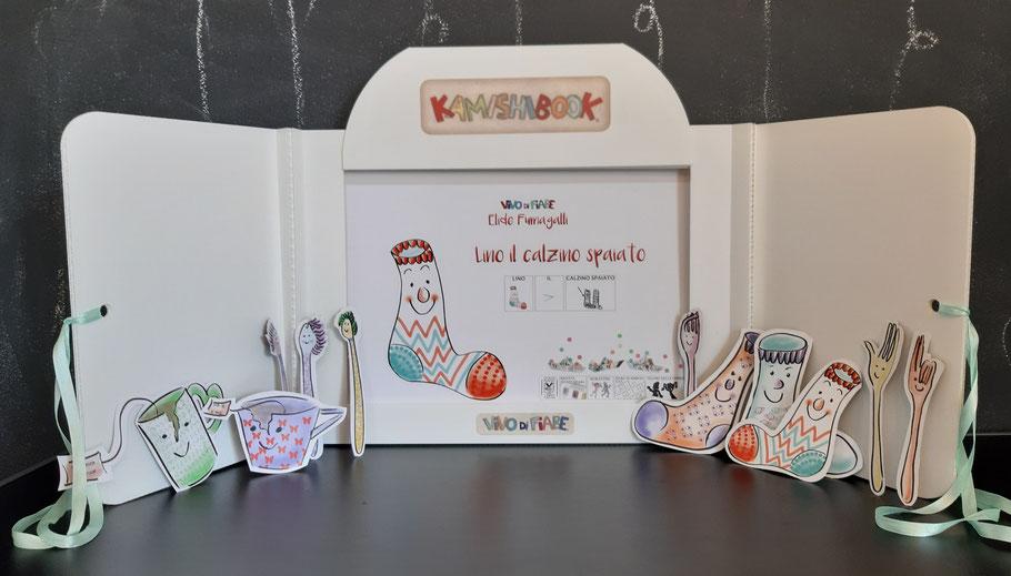 Kamishibai Lino il calzino spaiato audiolibro libro racconti valigia vendita teatrino burattino caa comunicazione aumentativa e alternativa teatro delle ombre cos'è