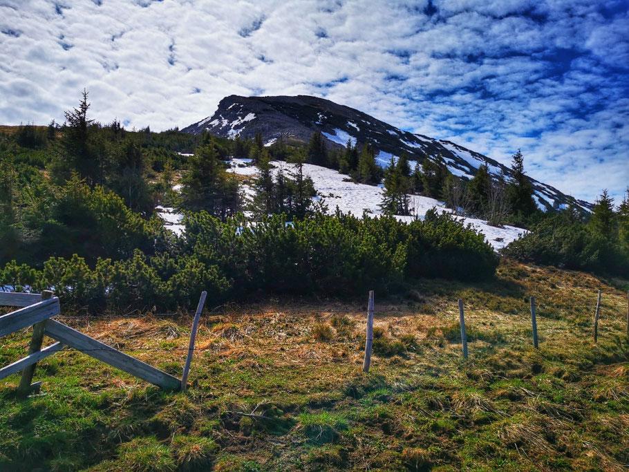 Am Gipfelaufbau des Bschießer