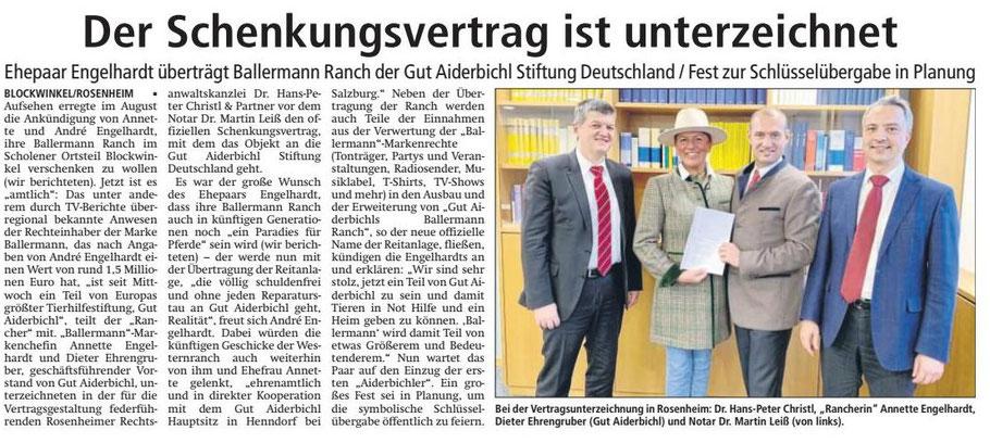 Annette und André Engelhardt haben die BALLERMANN RANCH an GUT AIDERBICHL verschenkt!