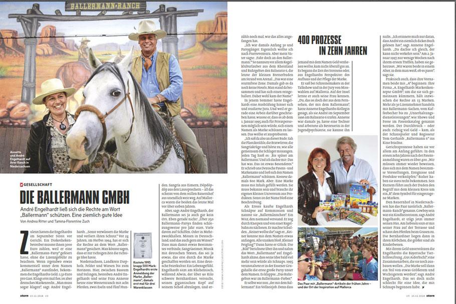 Die BALLERMANN-STORY von Annette u. André Engelhardt im STERN (Ausgabe Nr: 47-2018, 15.11.2018)