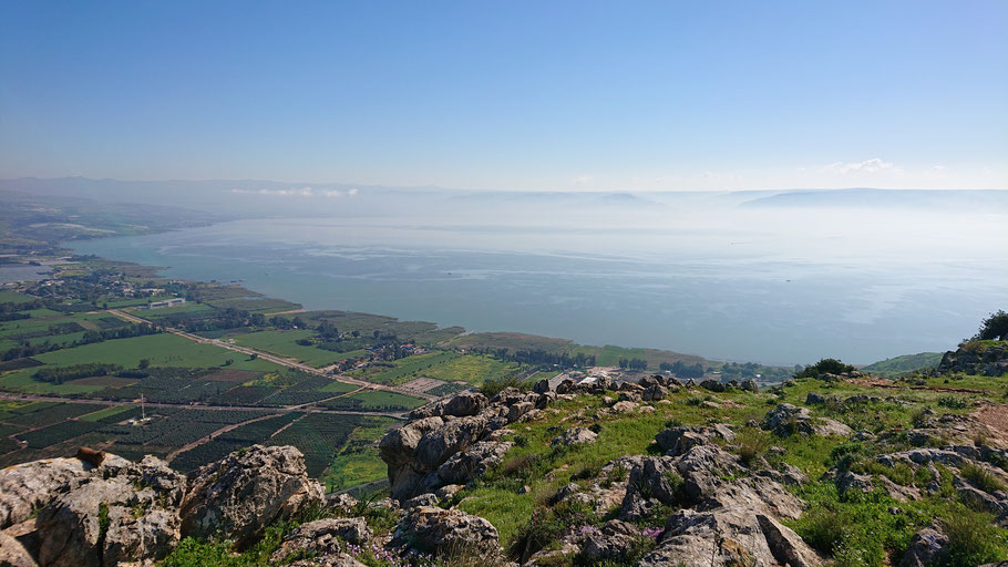 The Sea of Galilee view from Mount Arbel