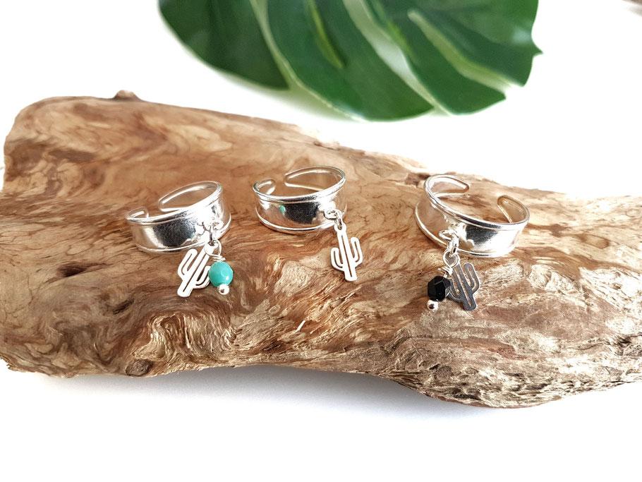 bague en argent cactus et perle bijou de palge