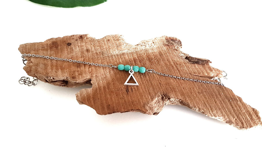 TIANO bracelet triangle turquoise fait main bassin d'arcachon