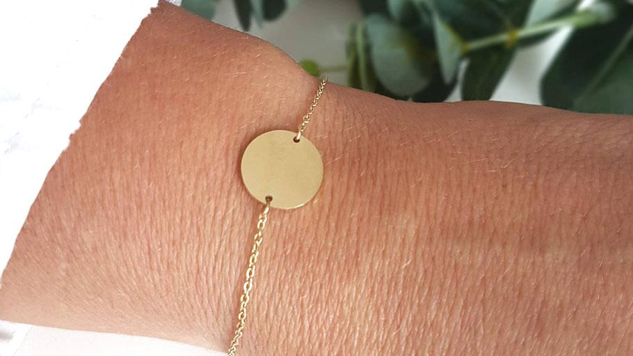 Bracelet doré médaille acier inoxydable