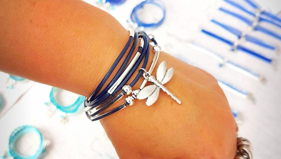 bracelet cuir femme, bracelet libellule