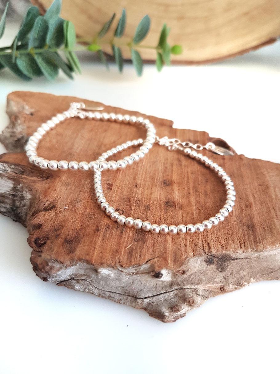 Bracelet perles en argent pour femme, idée cadeau