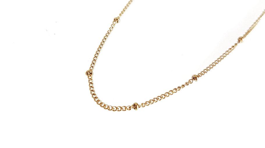 Collier doré fin acier inoxydable chaîne doré et perles