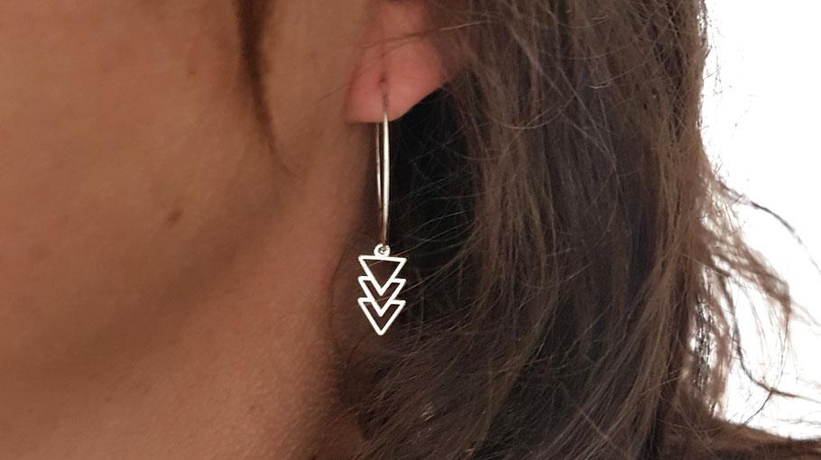 Créoles en argent triangles