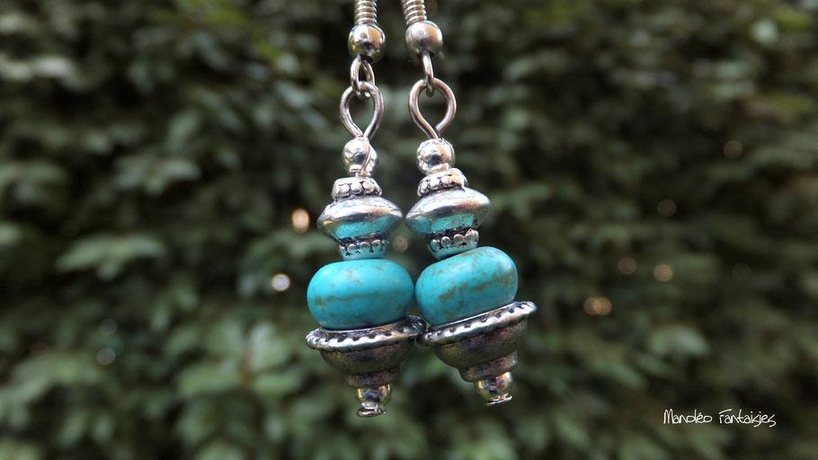 Boucles d'oreilles ESMA tendance ethnique turquoise