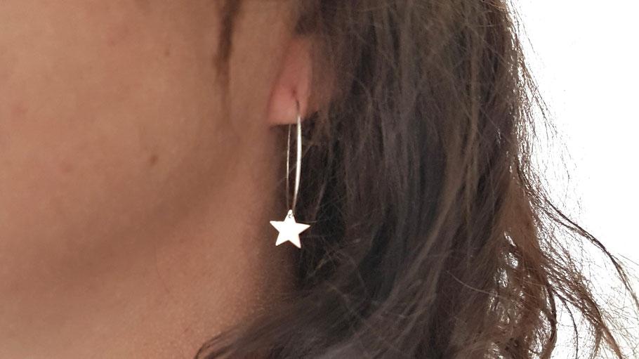 Créoles en argent étoile