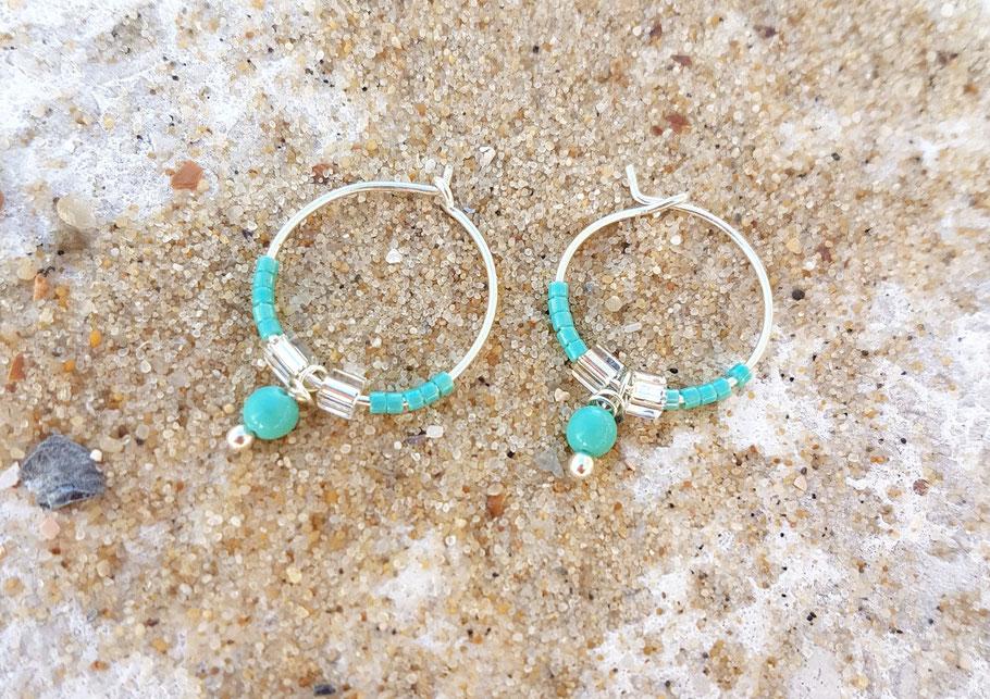Créoles en argent perles turquoises made in Bassin d'Arcachon