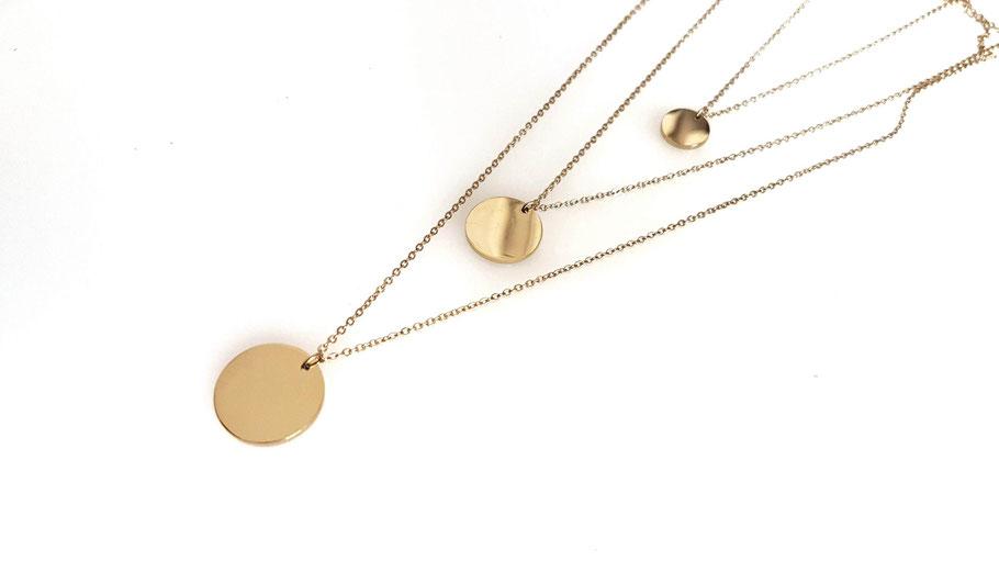 Collier doré médaille Accumulation colliers acier inoxydable