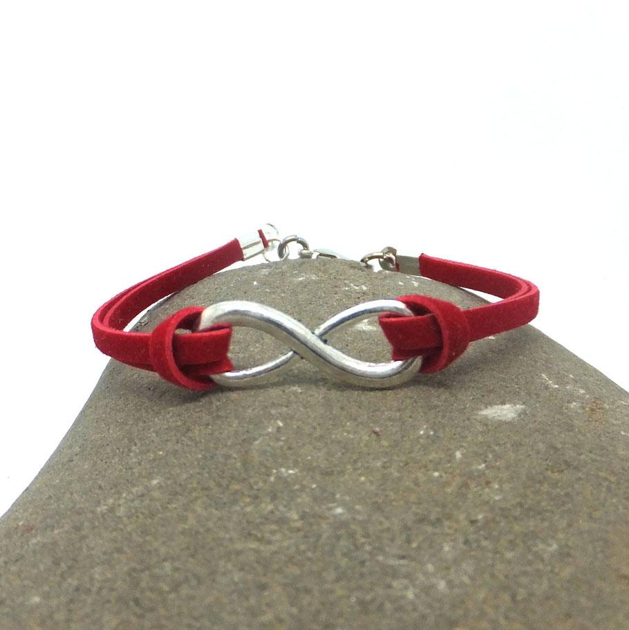 Bracelet infini rouge minimaliste, fait main en france