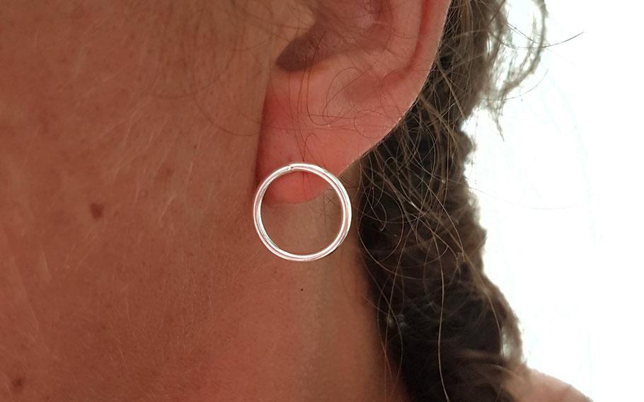 Boucles d'oreilles rond ajouré cercle en argent