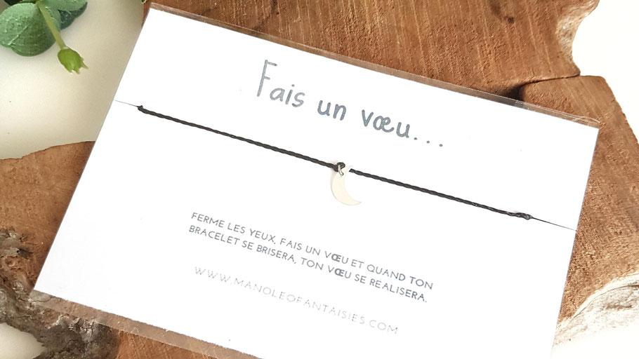 Collection bracelet en argent à nouer fais un vœu Manoléo Fantaisies