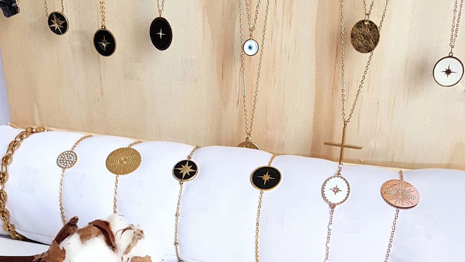 Bijoux dorés en acier inoxydable