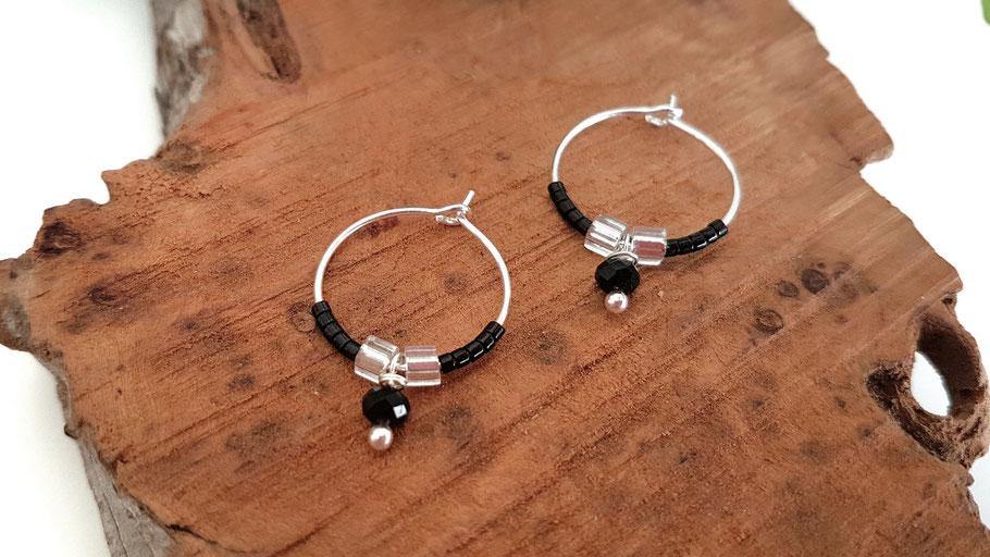 Créoles en argent perles noires made in Bassin d'Arcachon