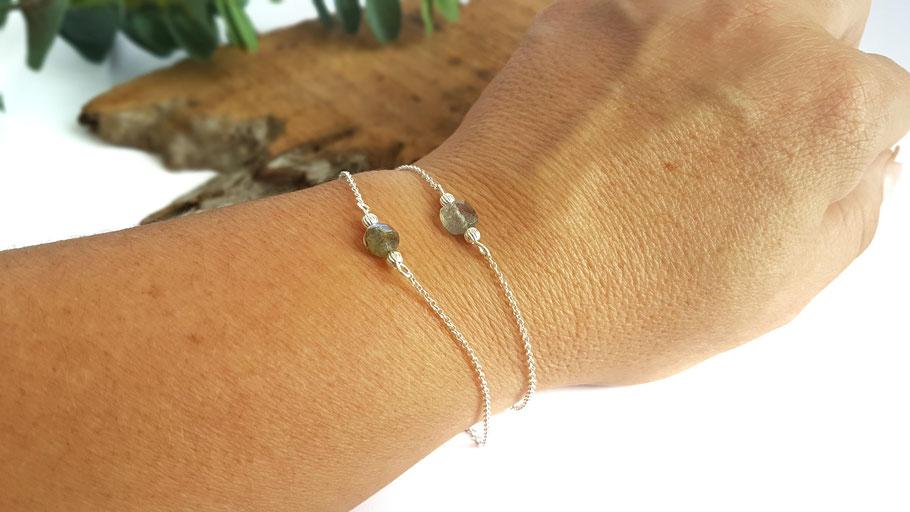Bracelets en argent pour femme et pierre de gemme labradorite