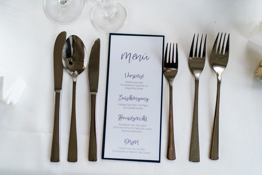 Menu Hochzeit Messer Gabel