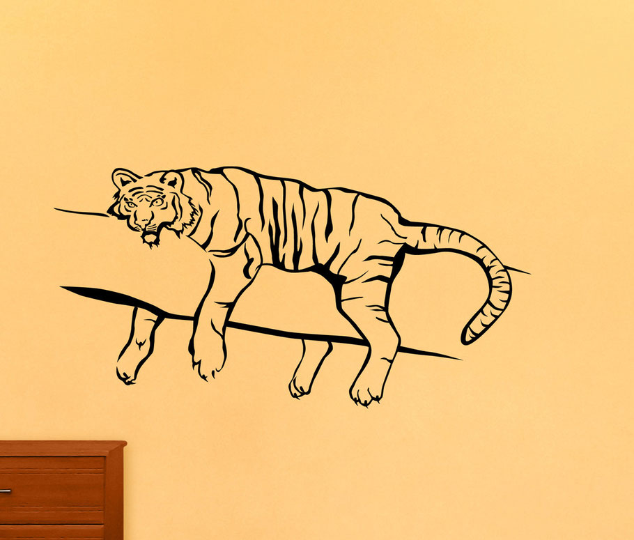 Tiger awake vinyl sticker design on a bedroom wall. Easy to apply and comes in two different sizes with two different design options, tiger one awake or asleep.