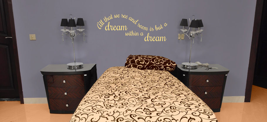 All that we see and seem is but a dream within a dream Edgar Allen Poe quote vinyl sticker. Swirly handwritten joined up font. Easy to apply to walls and comes in many colours at wallartcompany.co.uk