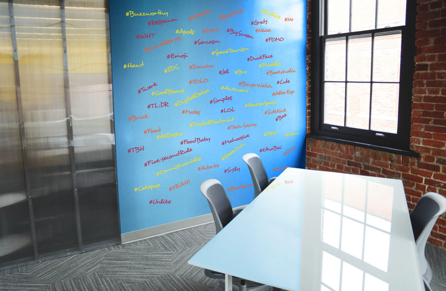 Popular hashtags vinyl wall stickers, part of a series containing meme words, internet slang and popular hashtags. Come in many colours and are easy to put up.