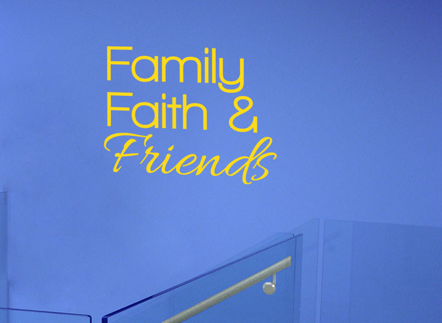 Family Faith & Friends wall art decal, this design comes in many colours and different sizes at www.wallartcompany.co.uk