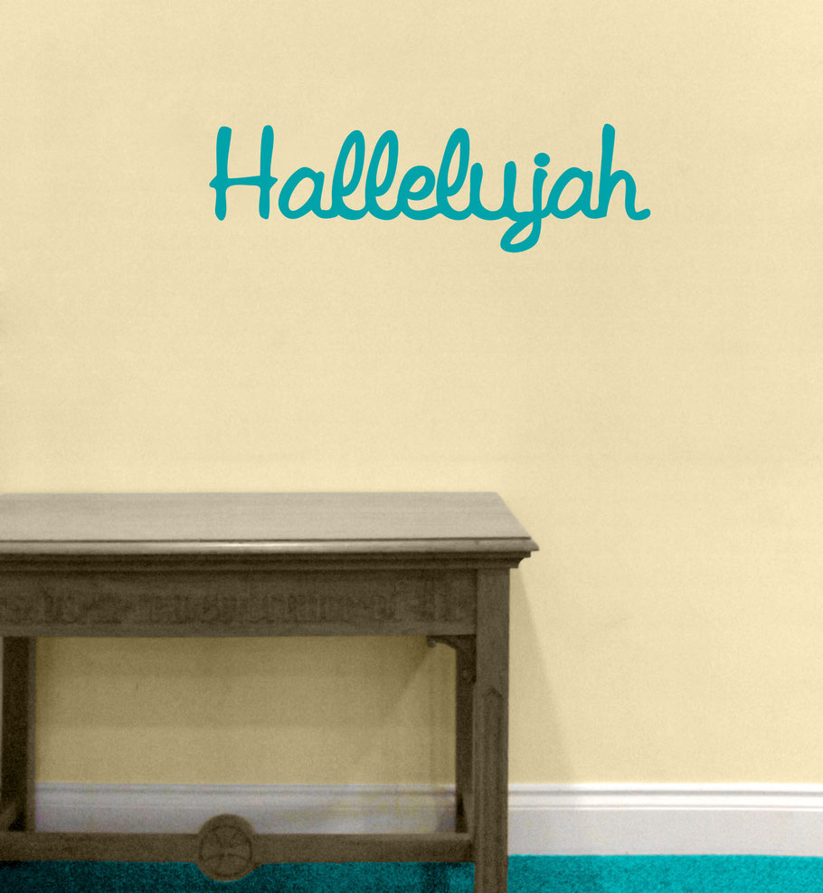 Hallelujah wall art decal, this design comes in many colours and different sizes at www.wallartcompany.co.uk