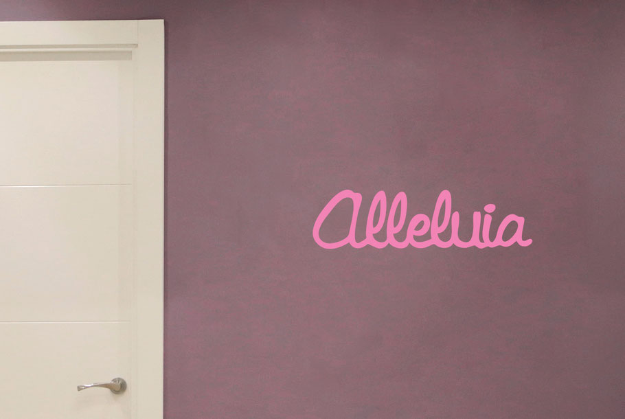 Alleluia wall art decal, this design comes in many colours and different sizes at www.wallartcompany.co.uk