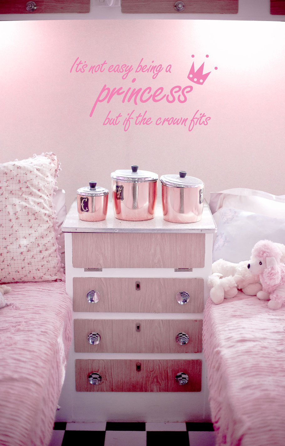It's not easy being a princess but if the crown fits vinyl sticker in a girls bedroom. The design has a cute little crown hovering over the word princess. This vinyl quote comes in many colours and custom sizes at wallartcompany.co.uk