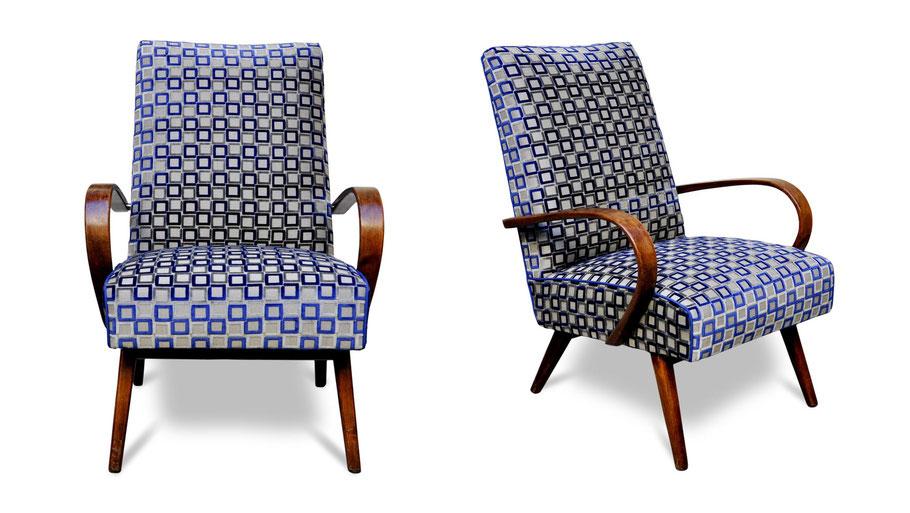 Poltrone deco vintage restaurate e tappezzate con tessuto design da Atelier Caruso