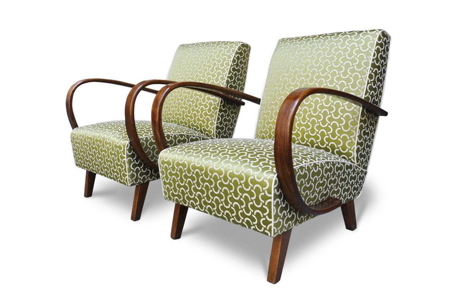 Poltrone vintage chair restaurate da Atelier Caruso 1861 con tessuto Dedar