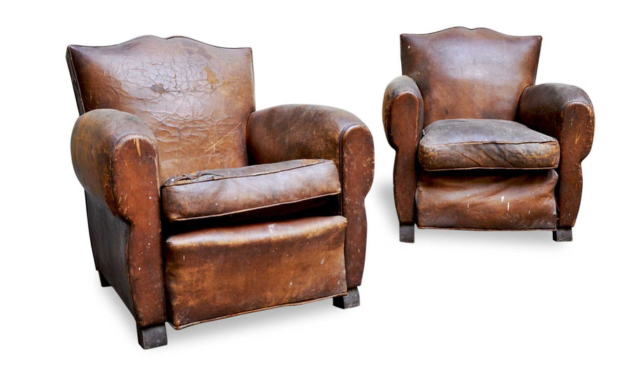 Poltrone club fauteuil in pelle vintage francesi