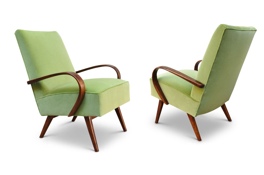 art deco chairs in lime velvet