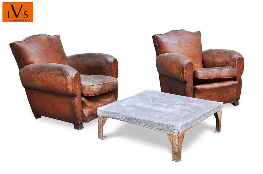 Acquista fauteuils club - poltrone vintage in cuoio da rifare e tavolino industrial vintage